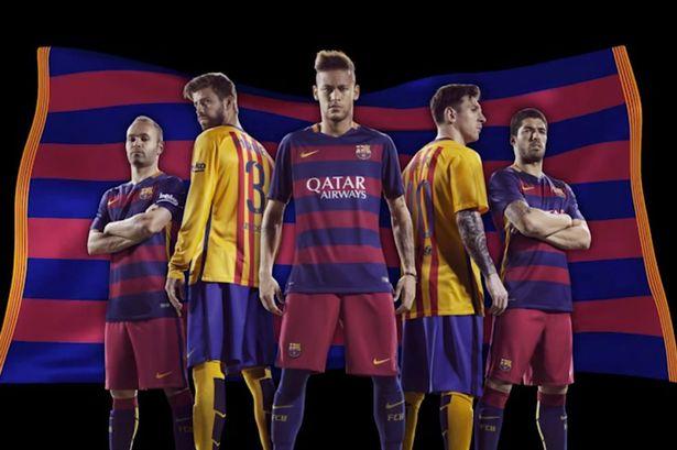 Barca home and away kits 15/16