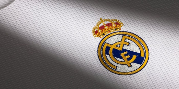 Real Madrid home jersey logo detail