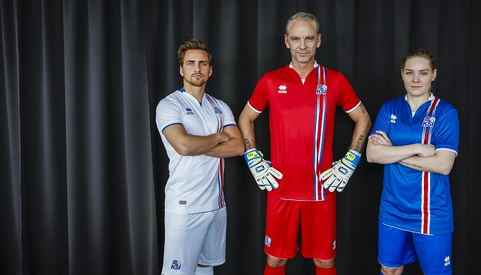 Iceland away and goalie jersey