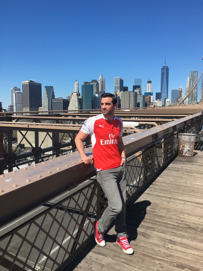 Arsenal home jersey New York skyline