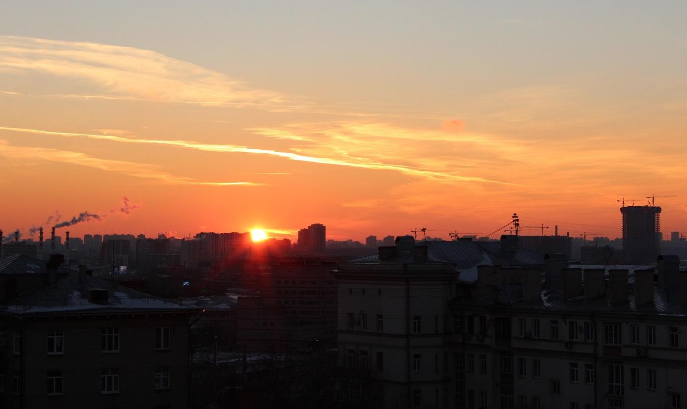 Moscow skyline sunset