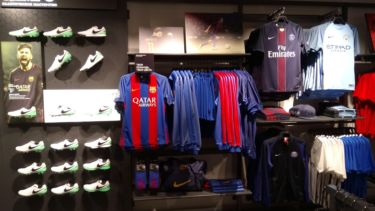 Nike store Moscow basement football