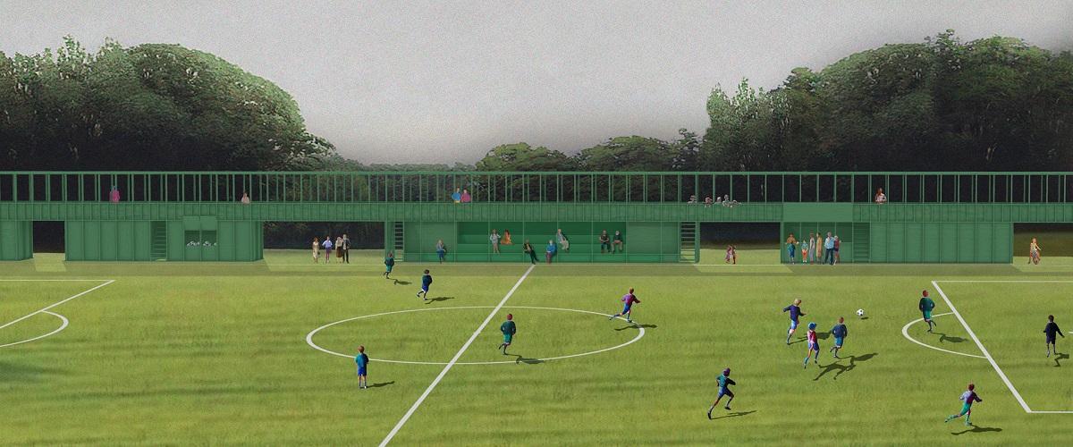 Green grass a green football field